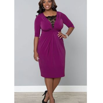 Plus Size Magenta & Lace Signature Cocktail Dress - Plus Size - Clothing