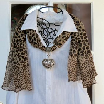 Dark Brown and Tan Leopard Print Scarf with Heart Pendant S1233
