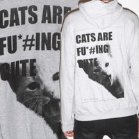 Cute Kitty Cat Hipster Emo Punk Rock Hoodie JACKET Dope PET Feline Sweatshirt