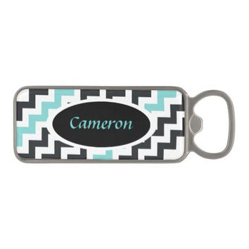 Gray Aqua Chevron Bottle Opener