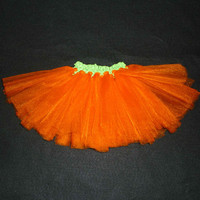 Shimmer orange green tutu- halloween tutu girl, wedding fall tutu, carrot dress up tutu, newborn shimmer, pumpkin baby tutu, sparkle baby