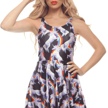 Featuring mega stretch fabrication, a scoop neckline, unicorn and rainbow print throughout, slip on style, thick shoulder straps, racerback, a-line skirt and finish with raw bottom hemline. Unlined.