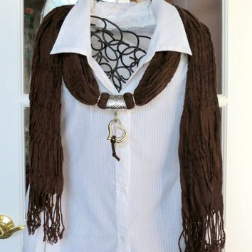 Dark Brown Scarf with Double Heart Pendant S1235