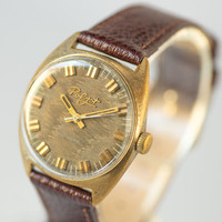 Men's wrist watch Poljot\Flight gold plated men's watch very rare watch Soviet zigzag face rust brown watch premium leather strap