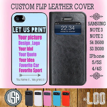 Custom Your Picture Design Logo Sport Car on  Flip Leather Cover @ Samsung Galaxy S4 Galaxy S3 Note 3 Note 2 IPhone 5 5S IPhone 4 4S  L00