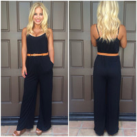 Soft Ribbed Jumpsuit in Black