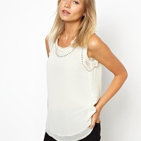 Mango Stud Detail Chiffon Shell Top