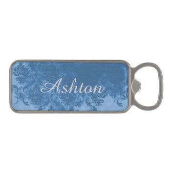 Blue Damask Personalized Bottle Opener