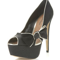 Sasha Black Side Bow Heel - New In - Miss Selfridge US