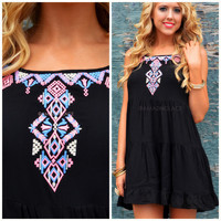 Rio Caliente Black Embroidered Dress