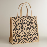 Black Print Jute Tote Bag - World Market