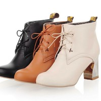 Ankle boots for women modern smooth Mid-calf lace-up shoes Z-JX2-7-Lovelyshoes.net