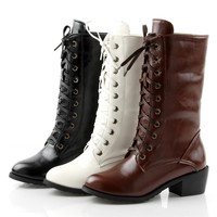 Comfortable boots long lacing PU women shoes Z-SL-Q-5-Lovelyshoes.net