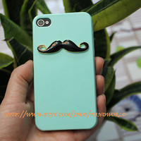 Light Green Hard Case Cover With Black Moustache For Apple Iphone 4g/4s  by handworld