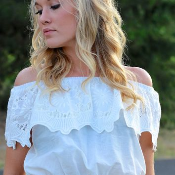 Embroidered Off-Shoulder Crop Top