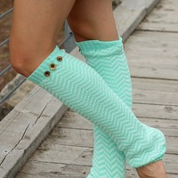 Chevron Print Leg Warmers (Mint)