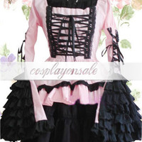 Lolita Costumes Gothic Pink And Black Long Sleeves Cotton Lolita Dress [T110514] - $74.00