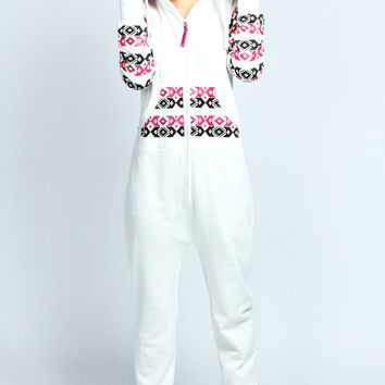 Eloise Aztec Contrast Arm And Pocket Onesuit
