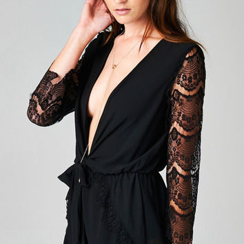 DEEP-V LACE ROMPER - BLACK