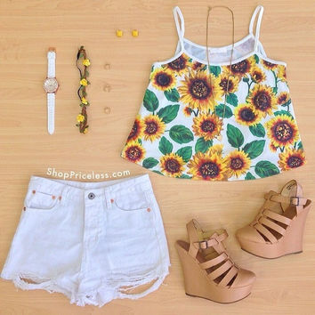 Belle Sunflower Top