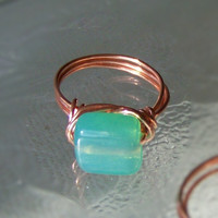 Ring Size 6.5 - Aqua Blue And Copper Wire Wrapped OOAK Art Ring | Luulla