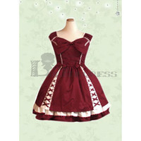 Cheap Sleeveless Bowknot Ruffles Cotton Red Sweet Lolita Dress [TQL120507119] - £52.59 :