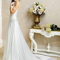 Buy discount Exquisite Elegant Divine Charmeuse Sheath spaghetti straps Wedding Dress In Great Handwork at dressilyme.com