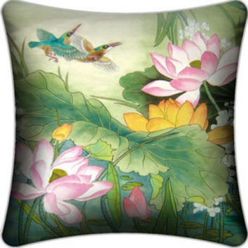 Fish and Lotus Cushion with Fillings