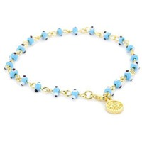 Blee Inara Gold and Turquoise Color Mini Eyes Bracelet