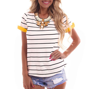Yellow Detail Striped Tee