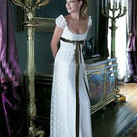 Buy discount Puff Sleeve Ribbon Front Lace Wraped Wedding Dress at dressilyme.com
