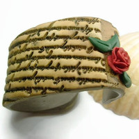 Cuff Bracelet With Rose And Handwritten Love Letter Design