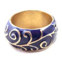 National Ceramic Blue Wide Band Rings by Favordeal21 on Etsy