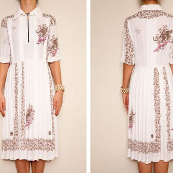 Japanese Vintage White floral and Leopard Cotton 1960's Italian style dress