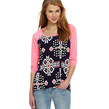 Moa Moa Tribal-Print Baseball Top | Dillards.com