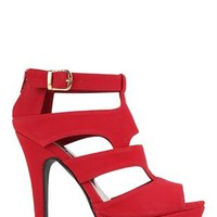 Peep Toe Platform Bootie with Cutout Sides