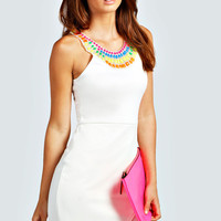 Mia Neon Trim Asymetric Bodycon Dress