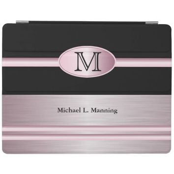 Elegant Monogram Pink Brush and Black
