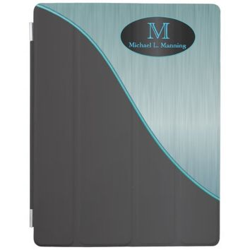 Elegant Monogram Turquoise Brush and Black