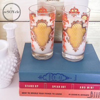 Orange and Yellow Retro Kitchen Drinking Glass Soy Candle Set - Volcano Fragrance Type - Caldera