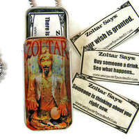 Fortune Teller Necklace Zoltar with fortunes by UniqueArtPendants