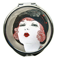 Flapper Kiss Pocket Mirror Compact Large by UniqueArtPendants