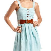 Charlotte Russe - Belted Cotton A-Line Dress