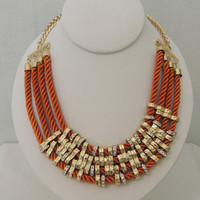 Sunset Times Satin Cord Necklace in Rusty Orange - $30.00 | Daily Chic Accessories | International Shipping