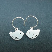 love birds earrings matte white gold plated and by Lana0Crystal