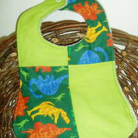 Green Dinosaur Baby Bib by BrennysBibbies on Etsy