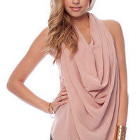 Drop It Low Sleeveless Top in Blush :: tobi