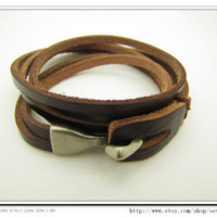 Cool Adjustable Bracelet Cuff made of Brown Leather by sevenvsxiao