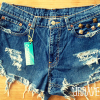 Studded Shorts Size MEDIUM to LARGE by UnraveledClothing on Etsy