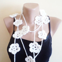 Hand made scarf with flowers Spring new fashion by BloomedFlower